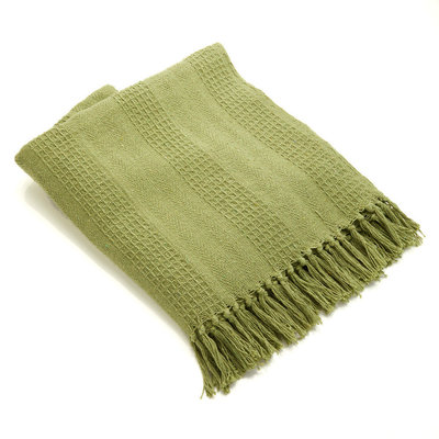 Serrv Cotton Rethread Moss Throw Blanket