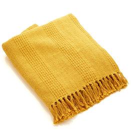 Serrv Cotton Rethread Mustard Throw Blanket