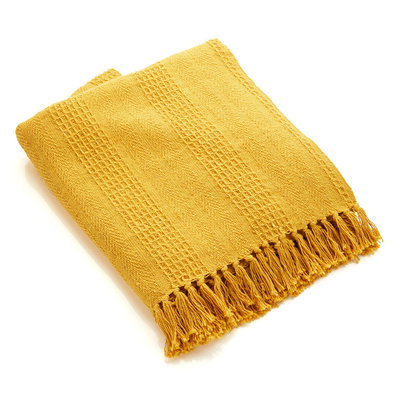 Serrv Cotton Rethread Mustard Throw Blanket