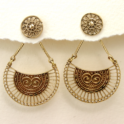 DZI Handmade Cradled Sun Earrings