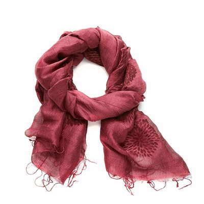 Serrv Cranberry Chrysanthemum Silk Scarf