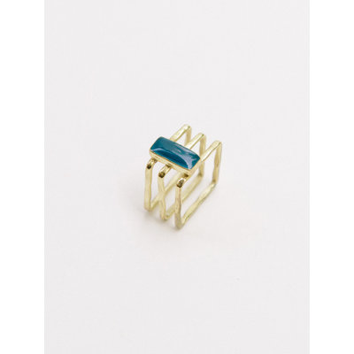 Mata Traders Cubist Gold and Navy Enamel Ring