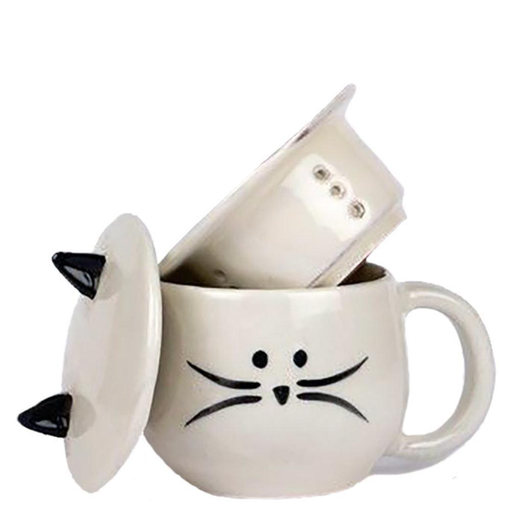 Ten Thousand Villages Cute Cat Tea Infuser Mug