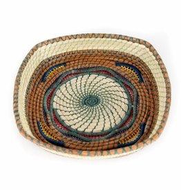 Mayan Hands Dahlia Pine Needle and Wild Grass Basket