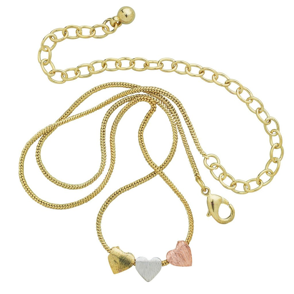 Ten Thousand Villages Dainty Hearts Tri-colored Metal Necklace