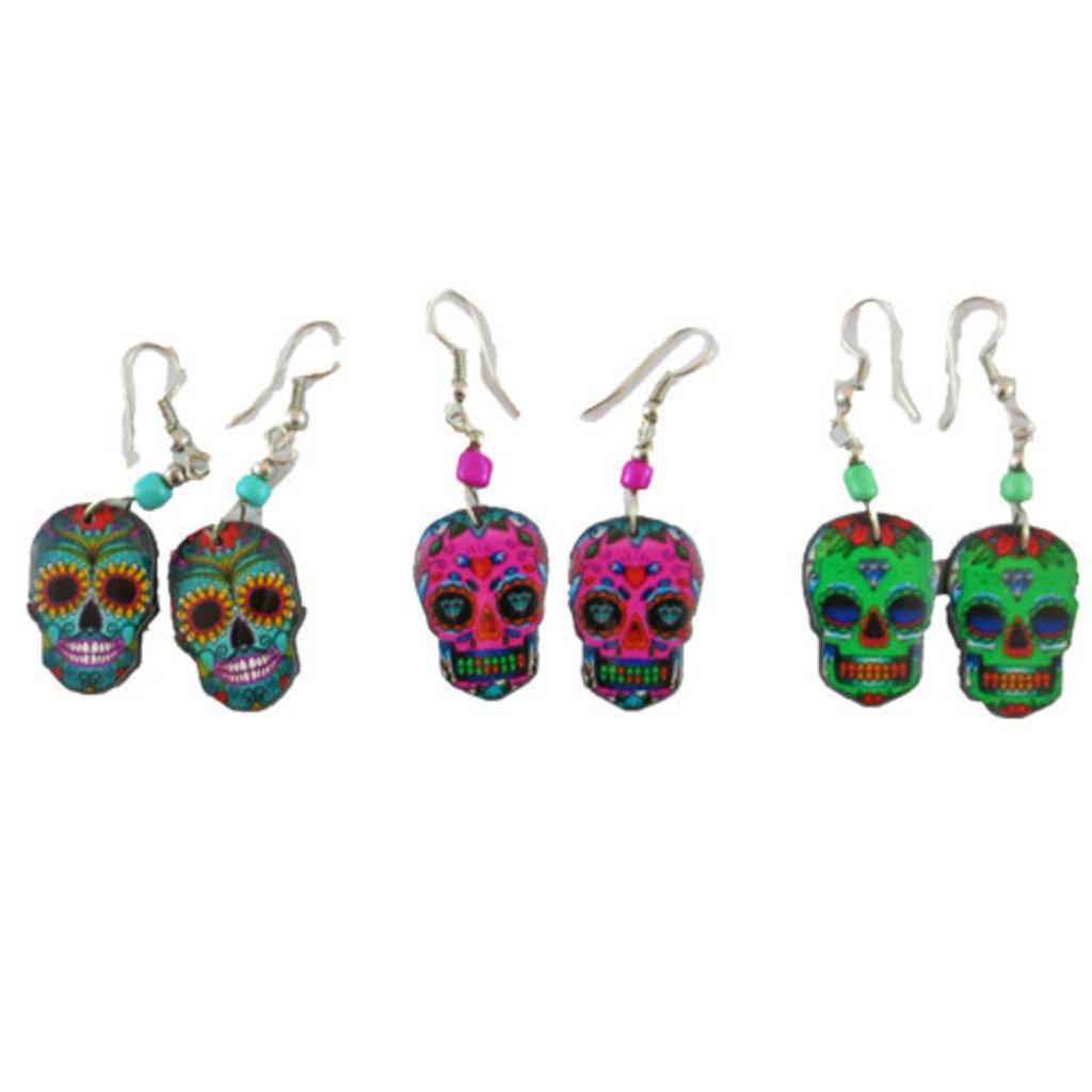 Inter-American Trading Day of the Dead Sugar Skull Earrings