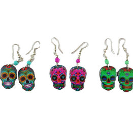 Inter-American Trading Day of the Dead Sugar Skull Earrings
