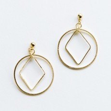 Mata Traders Diamond Hoop Studs Gold
