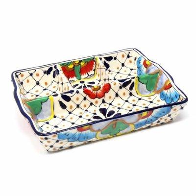 Global Crafts Dots & Flowers Divided Platter