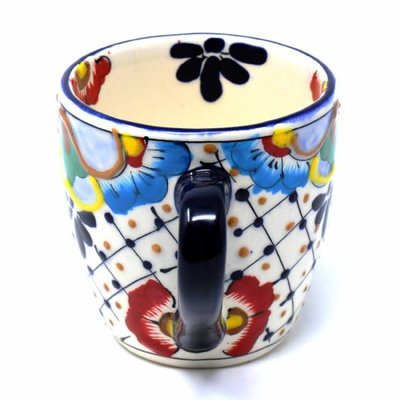 Global Crafts Dots & Flowers Mug