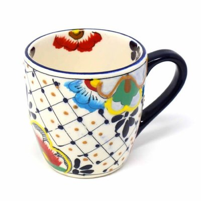 Global Crafts Dots & Flowers Mug