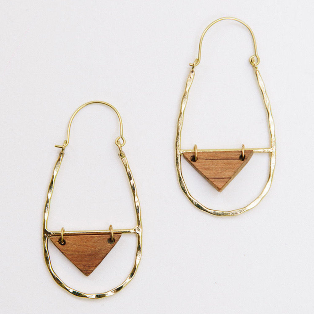 Mata Traders Lucca Wood and Brass Earrings