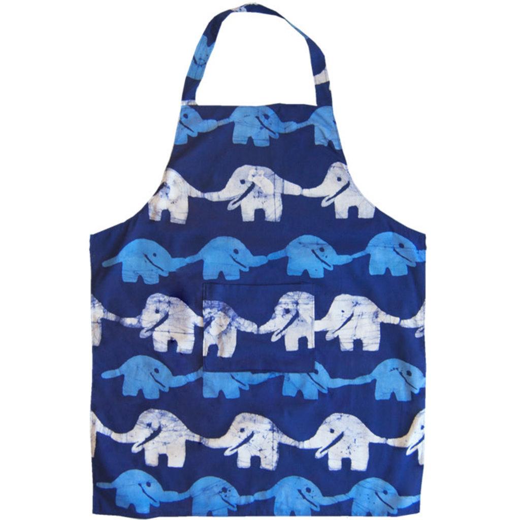 Global Mamas Reversible Apron: Blue Elephants