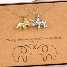 Ten Thousand Villages Elephant Charm Necklace Silver and Gold Set of 2