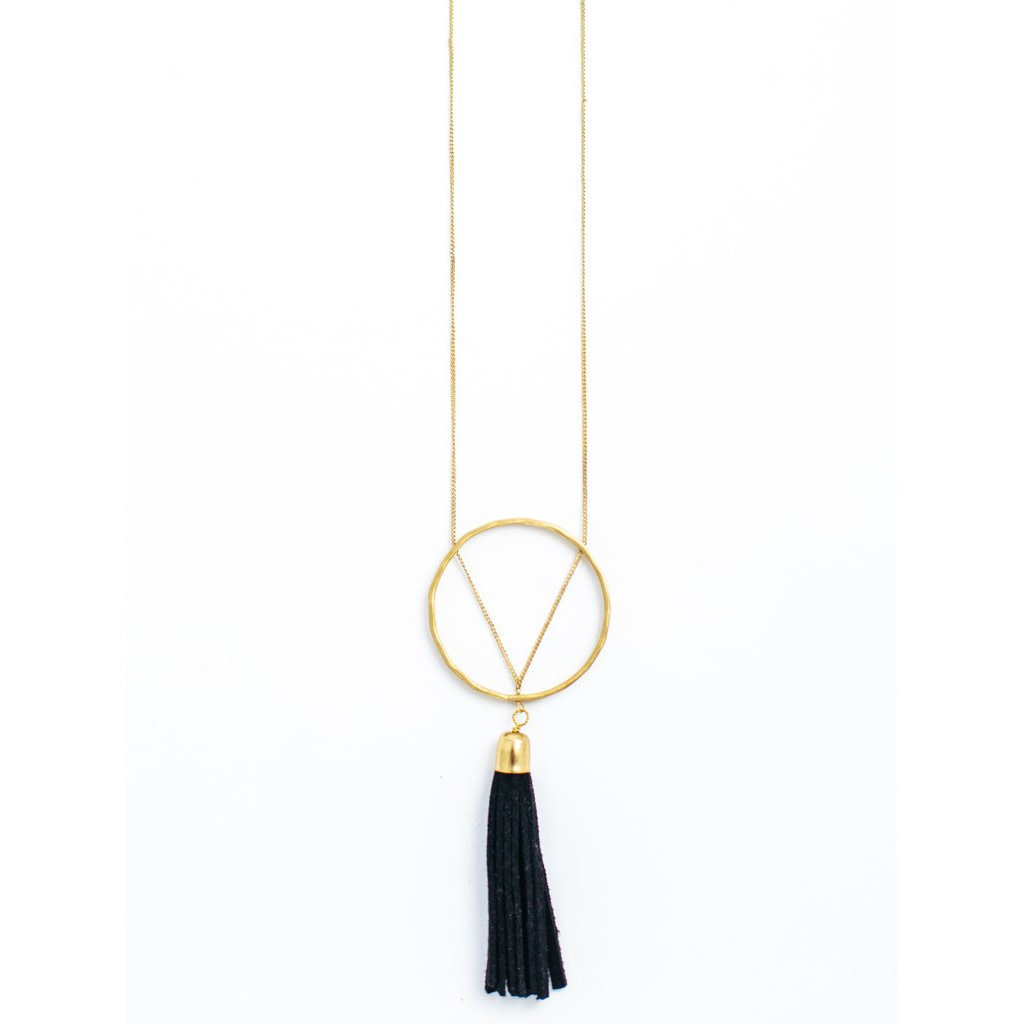 Mata Traders Ellaria Gold and Black Suede Tassel Necklace