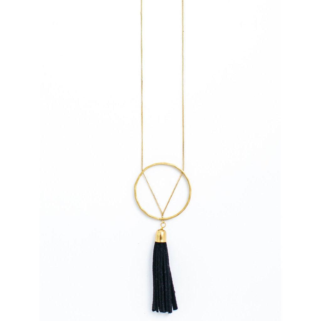 Mata Traders Ellaria Gold and Black Suede Tassel Necklace