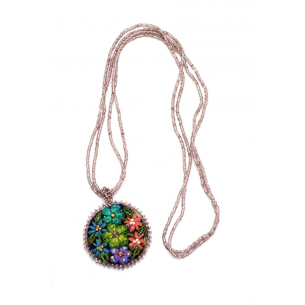Dunitz & Co Embroidered Corte Flower Necklace