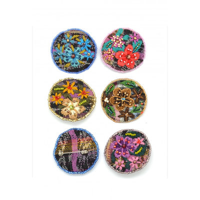 Dunitz & Co Embroidered Corte Flower Pin
