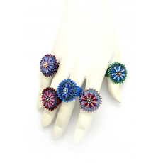 Dunitz & Co Embroidered Denim Daisy Ring