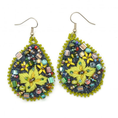 Dunitz & Co Embroidered Denim Frida Teardrop Earrings