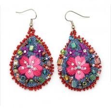 Dunitz & Co Embroidered Denim Frida Teardrop Earrings