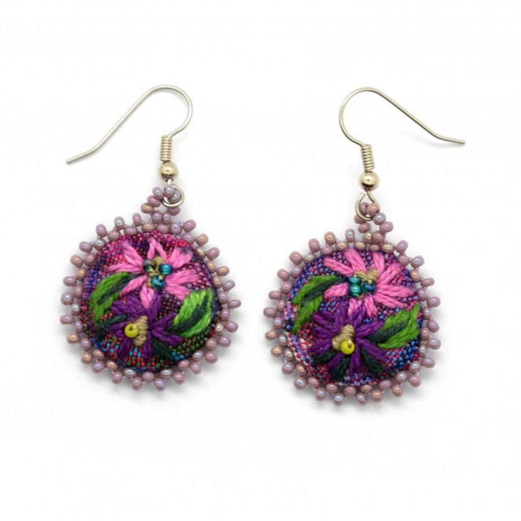 Dunitz & Co Embroidered Flower Earrings