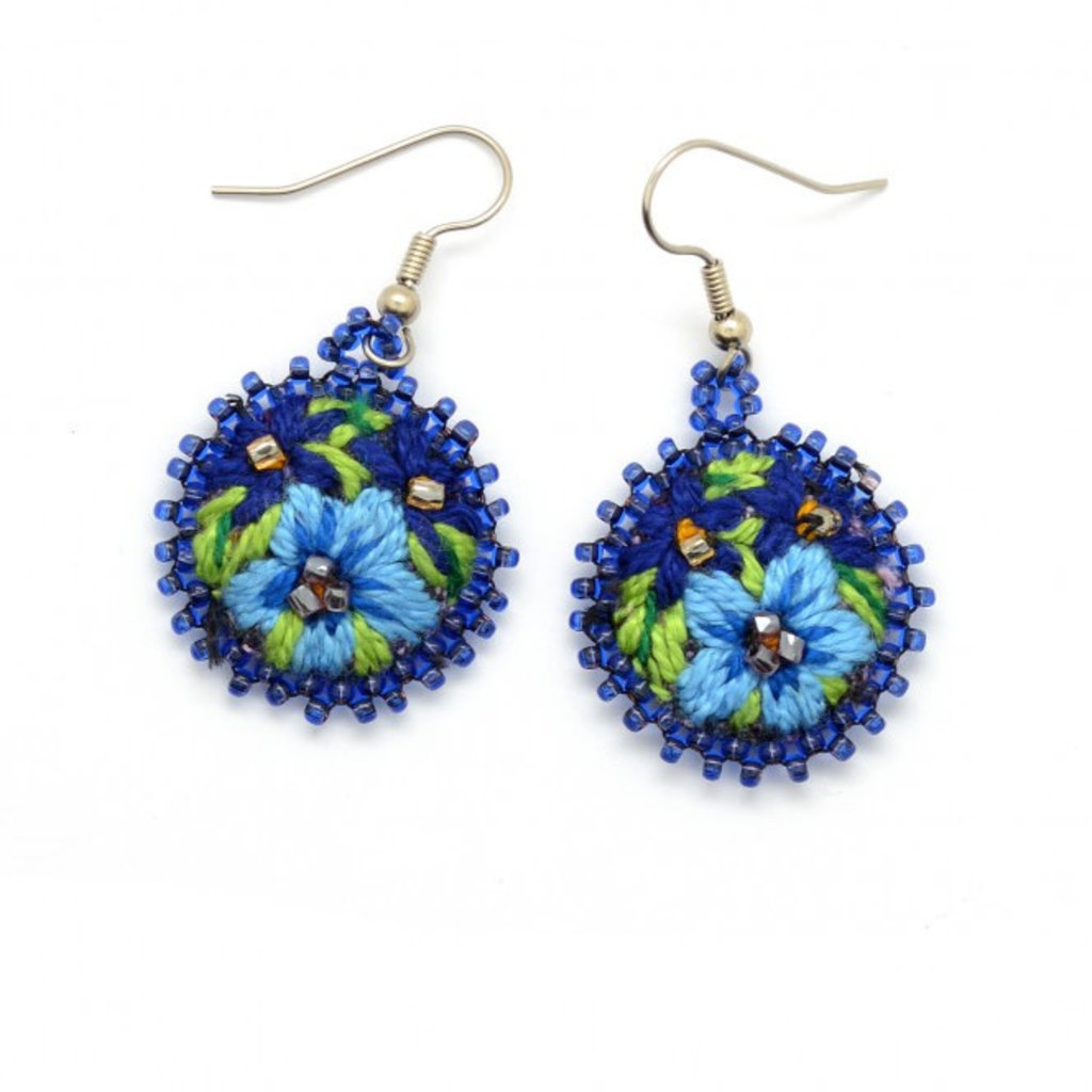 Dunitz & Co Embroidered Flower Earrings