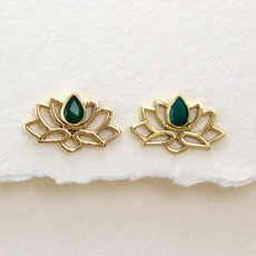DZI Handmade Emerald Lotus Stud Earrings