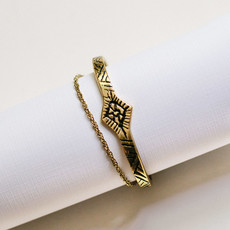 Mata Traders Etched Tassle Gold Cuff