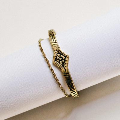 Mata Traders Etched Tassle Gold Cuff