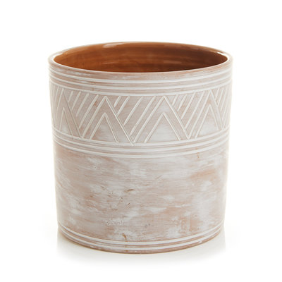 Serrv Etched Terra Cotta Cylinder Planter - Small