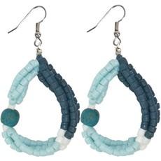 Global Mamas Felicia Teal Recycled Glass Earrings