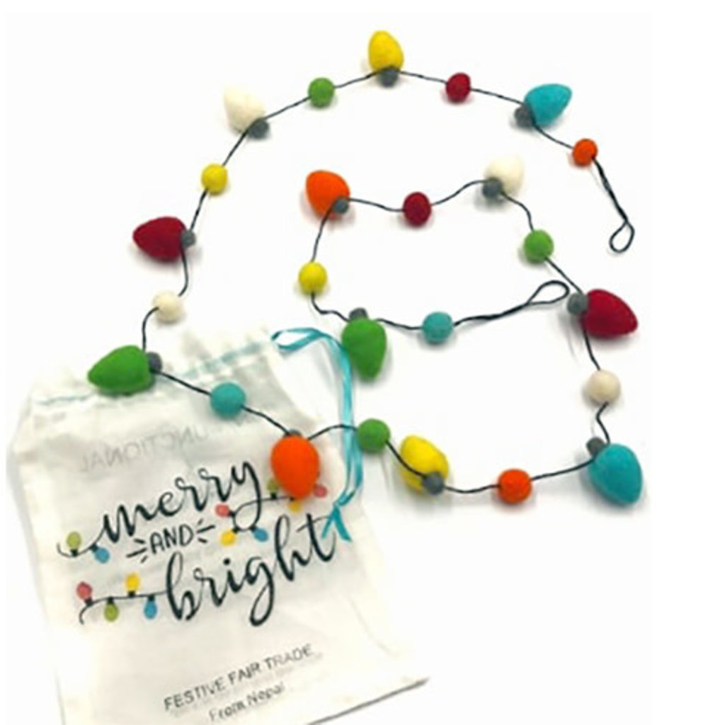 Ganesh Himal Felt Christmas Lights Garland with Bag