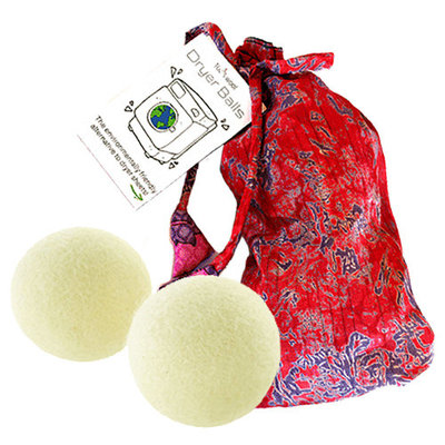 Ganesh Himal Felt Dryer Balls - Set of 2 with Recycled Sari Bag