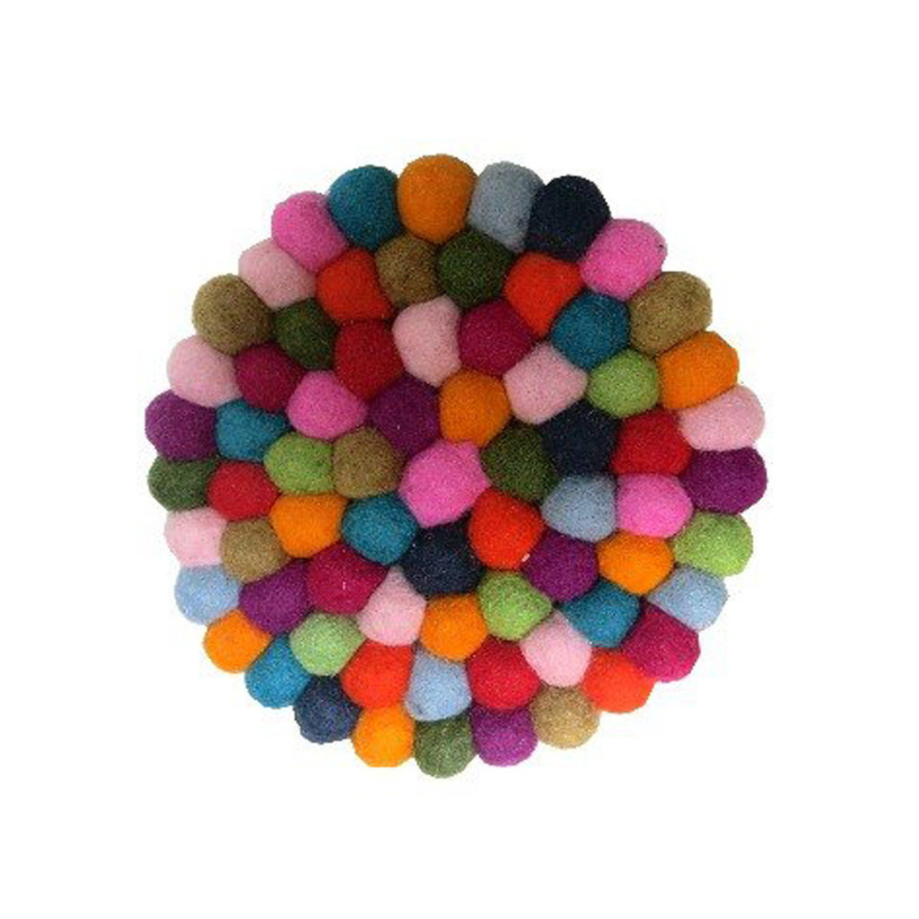 Ganesh Himal Felted Wool Ball Multicolor Trivet
