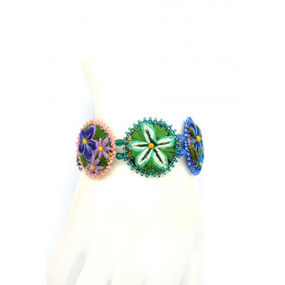 Dunitz & Co Five Rondelle Embroidered Bracelet