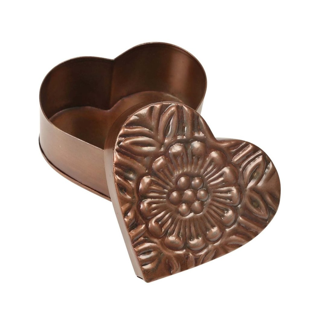 Ten Thousand Villages Floral Metal Heart Box