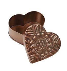 Ten Thousand Villages Floral Metal Heart Box
