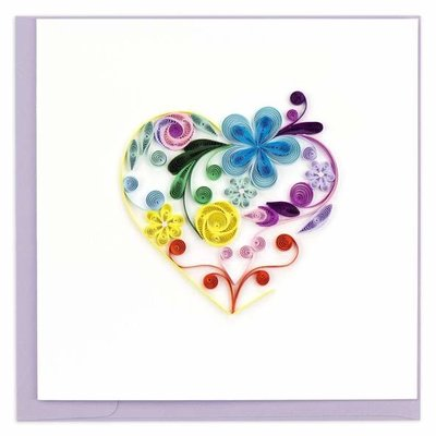 Quilling Card Floral Rainbow Heart Quilled Card