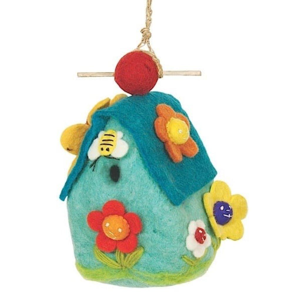 DZI Handmade Flower House Wool Felt Birdhouse