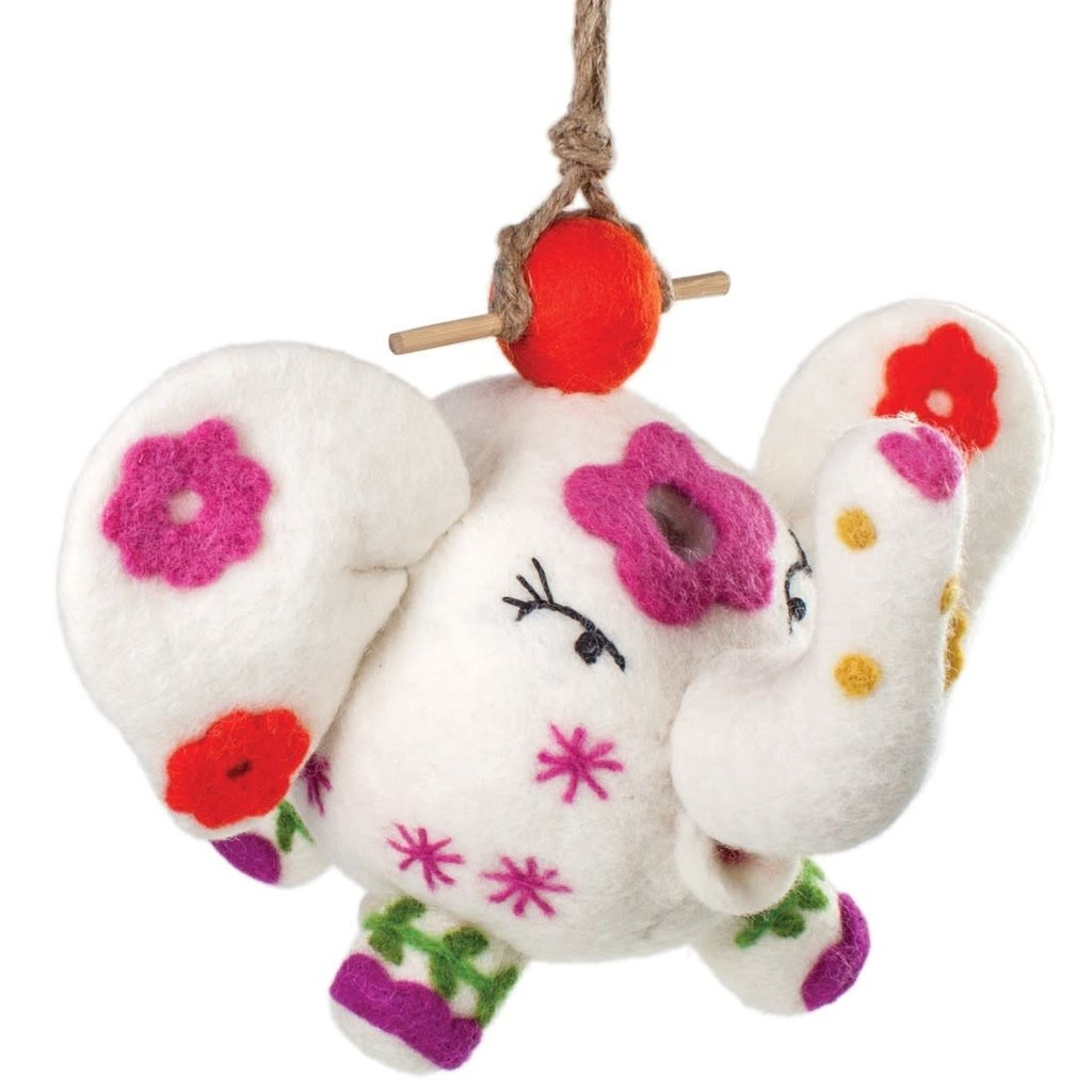 DZI Handmade Flower Power Patty Elephant Wool Felt Birdhouse