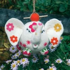DZI Handmade Flower Power Patty Elephant Wool Felt Birdhouse