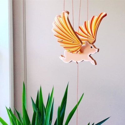 Tulia's Artisan Gallery Flying Mobile: Pig