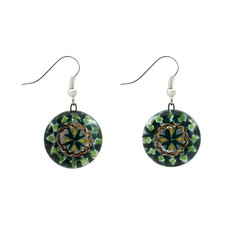 Unique Batik Fusion Mandala Glass Earrings
