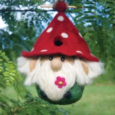 DZI Handmade Garden Gnome Wool Felt Birdhouse