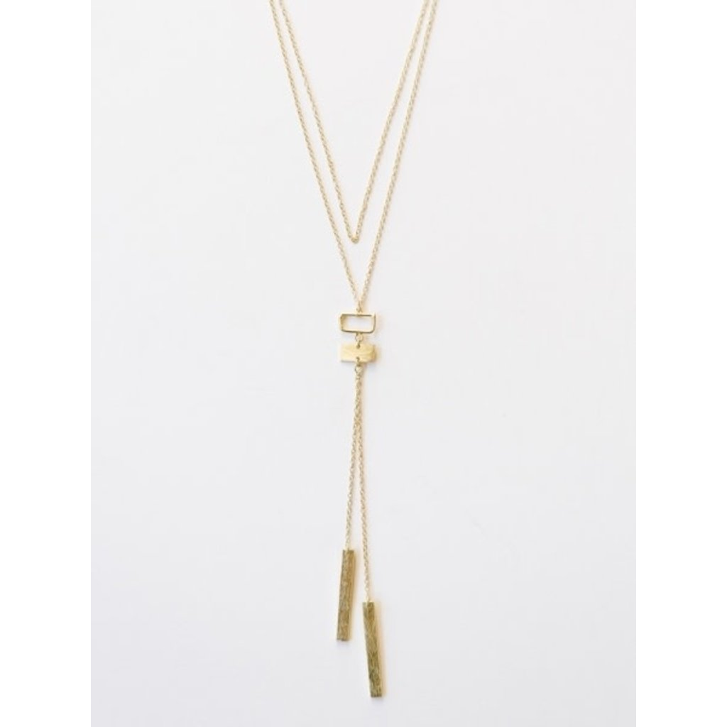 Mata Traders Gold Geometric Bolo Necklace