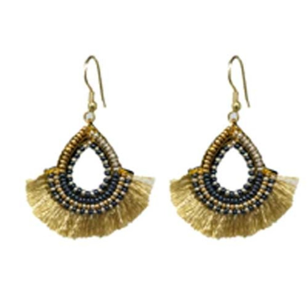 World Finds Golden Fan Teardrop Earrings