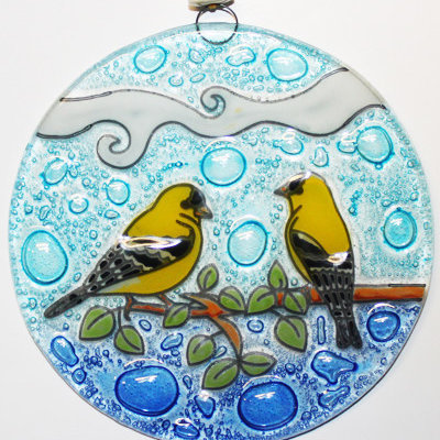 PamPeana Goldfinch Fused Glass Ornament