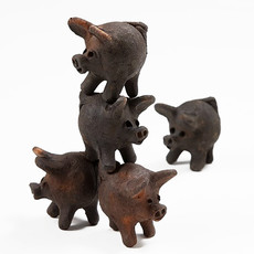 Ten Thousand Villages Good Luck 3-Legged Clay Pig