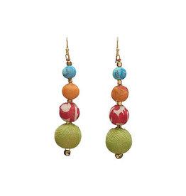 World Finds Graduated Kantha Bead Earrings